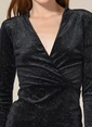 Agenda Kruvaze Simli Elbise Siyah